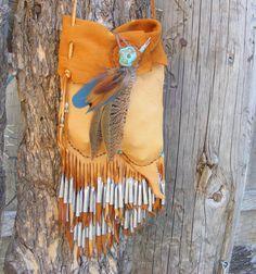 DRUM DANCE deerskin Medicine Bag spirit pouch by pradoleather