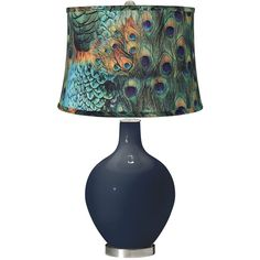 This Naval Blue Designer Color Glass Table Lamp Features A Stylish Peacock  Print Drum Shade. 28 High X Shade Is Across The Top, Across The Bottom,  High.