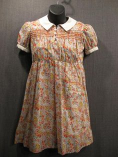 1930s orange and purple floral cotton girl's dress