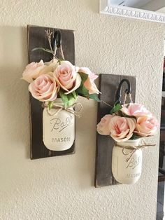 Etsy Set of 2 Mason Jar Sconces, Mason Jar Wall Decor, Country Decor, Hanging Mason Jar Sconce, Mason Jar Decor, Wall Sconce, Farmhouse Decor These rustic country style mason jar sconces are the perfect touch to your home decor. They bring warmth and beauty. affiliate