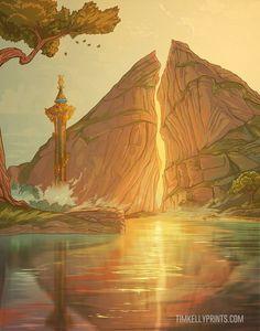 Check out his Etsy shop Legend of Zelda Breath of the Wild art Dueling Peaks botw TimKellyPrints The Legend Of Zelda, Legend Of Zelda Memes, Legend Of Zelda Breath, Breath Of The Wild, Fantasy Landscape, Landscape Art, Cry Anime, Anime Devil, Hyrule Warriors