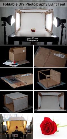 Foldable DIY Photography Light Tent | Boost Your Photography __ Ich hab es ausprobiert und es hat mit einigem Gefriemel wirklich funktioniert :D Ich bin ziemlich glücklich darüber!
