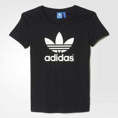 adidas Trefoil Tee ($30) ❤ liked on Polyvore featuring tops, t-shirts, adidas trefoil t shirt, print tees, adidas trefoil tee, adidas top and adidas