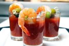 33 Next-Level Tips For A Bloody Mary Bar: Serve them as mini shrimp cocktail shooters!