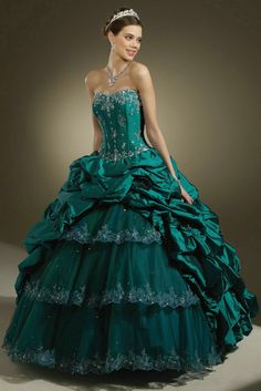 Draping Ruched Appliques Flower Long Strapless Dark Green Quinceanera Dresses In Dallas Tx