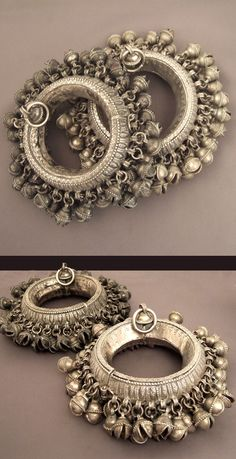 Yemen | Splendid pair of silver anklets adorned with multitude of bells | Late 19th century |