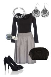 Black sweater, grey skirt, black heels, silver jewelry, simple and pretty!