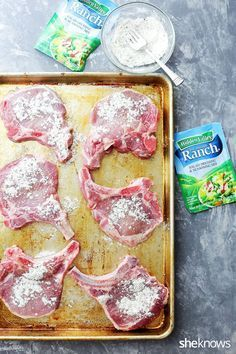 Ain& no shame in making pork chops with an unbeatable r.- Ain& no shame in making pork chops with an unbeatable ranch mix rub – - Oven Pork Chops, Ranch Pork Chops, Fried Pork Chops, Easy Pork Chop Recipes, Pork Rib Recipes, Keto Recipes, Grill Recipes, Yummy Recipes, Cooking Recipes