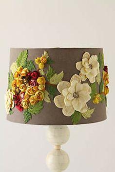 DIY Anthro Burlap Shade w/ flowers