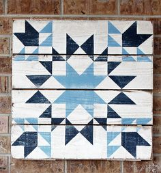 This barn quilt reminded me of my grandmother's blue depression china and hence the name Milly. It is a beautiful piece. Each barn quilt is hand painted and finished for indoor or outdoor use. Available in three and Barn Quilt Designs, Barn Quilt Patterns, Quilting Designs, Embroidery Designs, Quilting Templates, Block Patterns, Quilting Ideas, Embroidery Stitches, Star Quilts