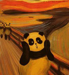 21 famous paintings that look better with pandas my art pand Art Manga, Anime Art, Panda Mignon, Panda Lindo, Panda Painting, Panda Drawing, Panda Art, Panda Wallpapers, Art Watercolor
