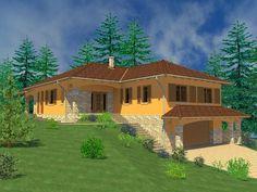 V-Terv Építésziroda Japanese Garden Design, Farm Stay, Interior And Exterior, Colonial, House Plans, House Design, Mansions, House Styles, Home Decor