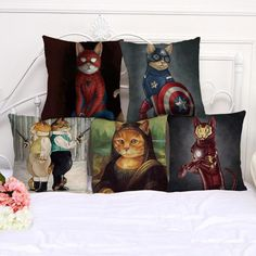 Manufacturers Selling Cute Animal Cat Printing Cotton Linen Decorative Pillow Home Bedside Chair Cushion For Kids Gift #Affiliate