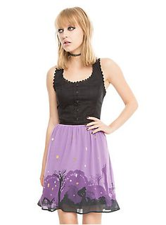 <div>At last you see the light! You need this dress from Disney's <i>Tangled </i>in your wardrobe! The black and purple fit and flare dress has a cotton twill bodice with hook and eye detailing down the front, a scalloped lace scoop neckline and tank sleeve accents, princess seams (how fitting) and a hook and eye back neck closure with large keyhole detail. Plus, a lace-up corset back to accentuate your waistline even more! The flowy lavender chiffon skirt features a border print of…