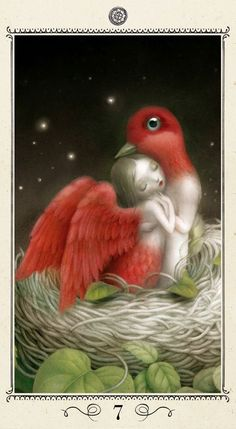 Made by: Nicoletta Ceccoli , release date 2014 Lo Scarabeo Tarot - (She has the wings and lower body of a bird, he has the bird head they are made for each other, so beautiful)