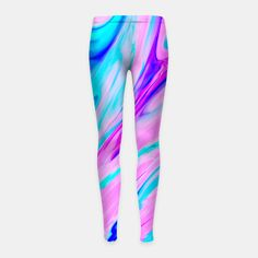 Pink-Blue Liquid Girl's Leggings, Live Heroes @liveheroes by photography_art_decor. All product: https://liveheroes.com/en/brand/oksana-fineart   #liquid  #psychedelic #marble #wave #abstract #trendy #stylish #fashionable #modern #awesome #amazing #chic #pink #blue #magenta #oil #paint #acrylic