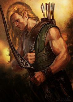 m Wood Elf Fighter Med Armor Longbow archer Longsword - CHARRO - fantasy illustrator: Archer Cover Art for La Búsqueda Fantasy Heroes, Elves Fantasy, Fantasy Rpg, Medieval Fantasy, Dnd Characters, Fantasy Characters, Character Portraits, Character Art, Archer