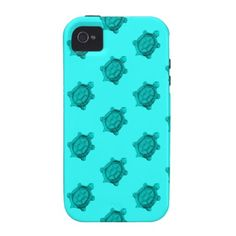 Turquoise Turtles Pattern Vibe iPhone 4 Cases