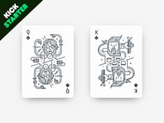 The queen and king of clubs for «Hipsteria» deck. Available on Kickstarter: www.kickstarter.com/projects/2115236027/hipsteria-playing-cards
