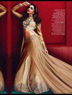 Deepika Padukone presenting Manish Malholtra jacket and lehenga and jewels by Rose