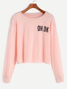 13$ Buy here - http://dipwb.justgood.pw/go.php?t=15405 - Pink Drop Shoulder Letter Print Raw Hem Crop Sweatshirt 13$