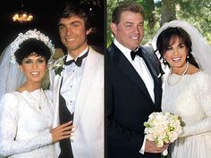 Marie & Steve - Then & Now. Their first wedding in 1982 and their re-marriage in 2011. She wore the same dress!!!