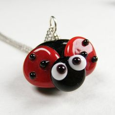 Lady bug Necklace Handmade Lampwork Glass Bead By by cnyglass