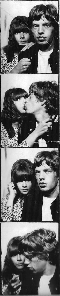 Chrissie & Mick in a photo booth. Chrissie Shrimpton, Jean Shrimpton, Mick Jagger Girlfriend, She's A Rainbow, Marianne Faithfull, Perfect Couple, Rolling Stones, Heavy Metal, Photo Booth