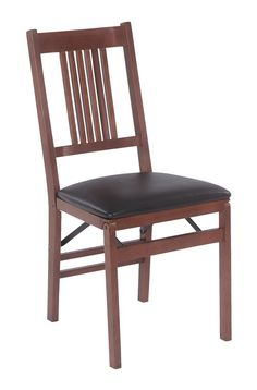 True Mission Folding Chair in Warm Fruitwood Finish - Set of 2