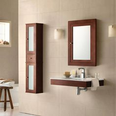 Adina Single Wall Mount Bathroom Vanity Set with Mirror Vanity Set With Mirror, Bathroom Decor, Vanity, Small Bathroom Vanities, Bathroom Mirror, Bathroom Wall Cabinets, Ronbow, Bathroom Vanity Base, Bathroom
