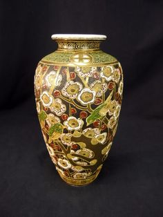 Japanese Satsuma Moriage & Gold Gilt Vase Birds & Cherry Blossoms Vintage