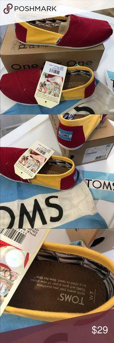 TOMS-USC colors-Classic canvas women's slip ons TOMS WOMEN'S CAMPUS CLASSICS CANVAS SLIP-ON SHOES,USC,RED/YELLOW. TOMS-USC colors-Classic canvas women's slip ons Toms Shoes