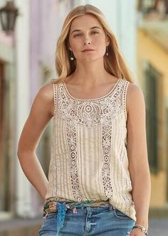 Lightweight and classic, this lace tank top lends an air of breezy grace to any look. Lace Tank, Weekend Wear, Warm Weather Outfits, Summer Outfits, Clothes For Women, My Style, Tops, Robert Redford, Top Rated