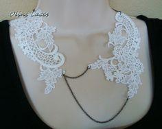 Wedding Jewelry AMALIA  White lace bridal necklace door OliniLaces, $34,00