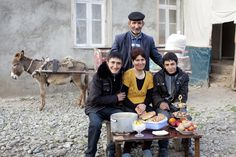 OxFarm. Shahveller, Azerbaijan. In a new series of photos, families worldwide pose with one week's food supply.