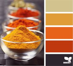 spiced palette...orange rust, second from bottom (grey is good, slightly more yellow second from top)