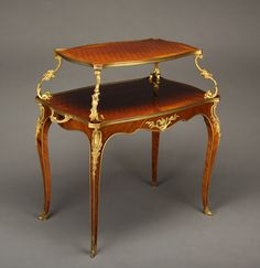 Early 20th century French Gilt-Bronze Mounted Louis XV Style Two Tier Pastry Table