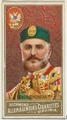 "Trade cards from the ""World's Sovereigns"" series (N34), issued in 1889 in a set of 50 cards to promote Allen & Ginter brand cigarettes."