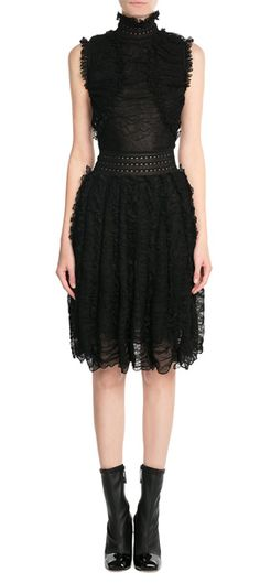 Tap into Victorian-inspired romantic drama in this ruffled silk sleeveless dress from Alexander McQueen. A contemporary sheer finish is grounded by a high neckline and modest length. Style with glossy ankle boots for added edge #Stylebop