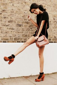 Ankle socks and platforms. She looks so carefree. Socks And Heels, Black Socks, Ankle Socks, Asos Fashion, Female Fashion, Womens Fashion, Classic Tan, Brown Outfit, Fashion Clothes Online