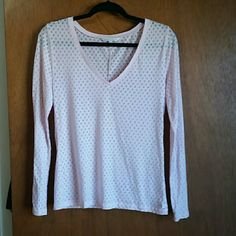 Victoria's Secret cotton long sleeve pajama top Comfy v neck?cotton sheer pajama top. Light pink color with a Diamond shape fabric. Victoria's Secret Intimates & Sleepwear Pajamas
