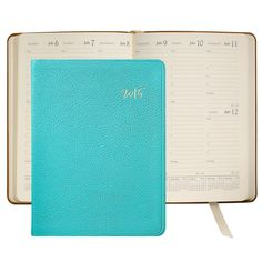 2015 Desk Diary, Robin's Egg Blue French Goatskin Leather Agenda | Graphic Image 98