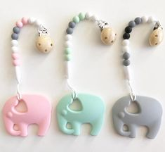 Elephant Teether & Pacifier Clip / Silicone Teether Customize