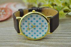 Dark Brown leather bracelet watch women's wrist by BraceletTribal, $5.99 Fashion leather watch bracelet.