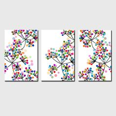 Modern Decor Black and White Colorful Dots Botanical Trio - Set of Three 11x17 Coordinating Floral Prints - Modern Floral Art
