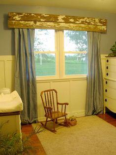 Barn wood valance for boys room.