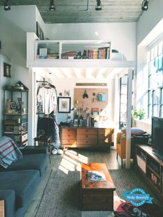 A Small Boston Studio Apartment Has One of the Best DIY Bedroom Lofts Ever This Boston studio apartment has a smart space-saving solution – they. College Bedroom Decor, Bedroom Loft, Bedroom Apartment, Apartment Therapy, Diy Bedroom, Studio Apartments, Small Apartments, Small Spaces, Cute Home Decor