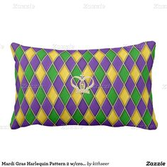 Mardi Gras Harlequin Pattern 2 w/crown Pillows