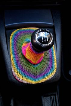 Ravelry user Florentine executed a clever automotive intervention by knitting this gearbag cover for her VW Passat.