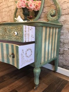 SOLD Birds eye maple vintage lowboy dresser / chest of image 1 Funky Painted Furniture, Distressed Furniture, Paint Furniture, Repurposed Furniture, Shabby Chic Furniture, Furniture Projects, Furniture Makeover, Vintage Furniture, Cool Furniture